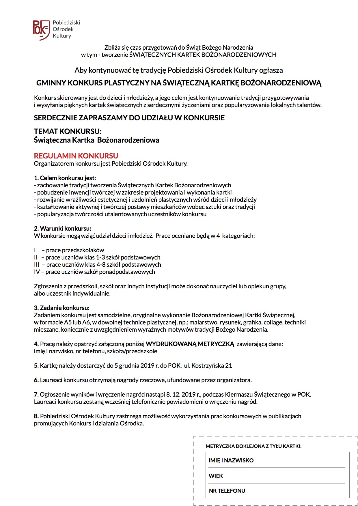 REGULAMIN KONKURSU - KARTKA BOŻONAR 2019
